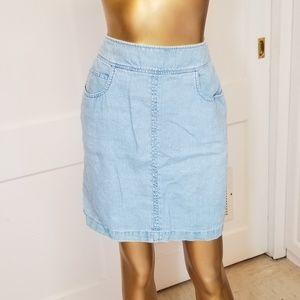 🎀 Vintage Jones Jean's 100% Linen Chambray Skirt